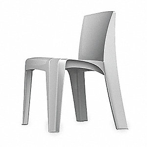 Blue Gray Polypropylene Stacking Chair with Blue Gray Seat Color, 1EA