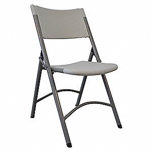 Gray Steel Folding Chair with White Seat Color, 1EA