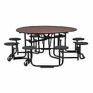 Folding Table with Stools,Round,,Walnut