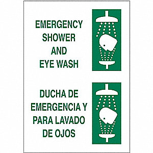 Eye Wash Sign,14 x 10In,GRN/WHT,SURF
