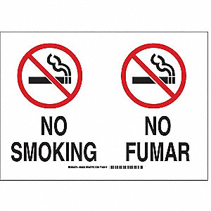 "No Smoking, No Header, Fiberglass, 14"" x 20"", With Mounting Holes, Not Retroreflective"