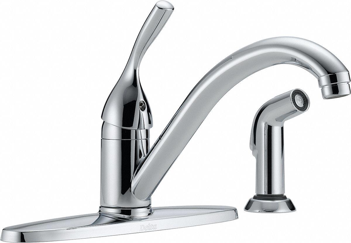 Delta Chrome Low Arc Kitchen Sink Faucet Manual Faucet Activation 1 8 Gpm 4nlk4 400 Dst Grainger