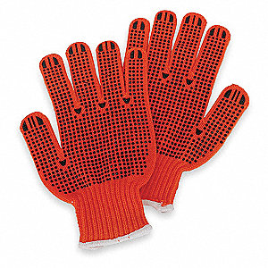 Knit Gloves, Acrylic Material, Knit Wrist Cuff, High Visibility Orange/Black, Glove Size: S