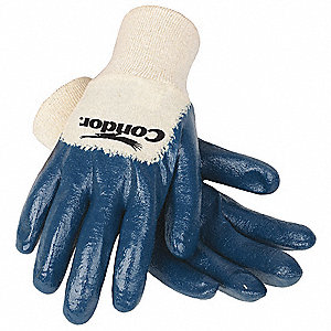 Flat Nitrile Coated Gloves, Glove Size: S, Natural/Blue
