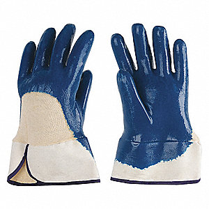 Smooth Nitrile Coated Gloves, Glove Size: L, Natural/Blue