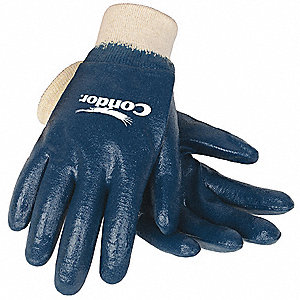 Smooth Nitrile Coated Gloves, Size M, Natural/Blue
