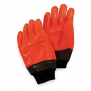 Cold Protection Gloves, Foam/Jersey Lining, Knit Wrist Cuff, Hi Visibility Orange, L, PR 1