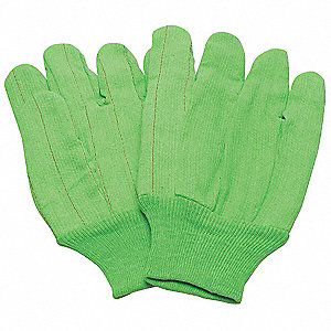 "Canvas Gloves,10-1/4"",L,Hi-Vis Green,PR"