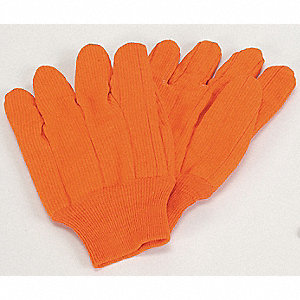 "Canvas Gloves,10-1/4"",L,Hi-Vis Orange,PR"