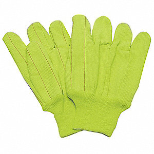 Canvas Gloves, Cotton Material, Knit Wrist Cuff, High Visibility Yellow, Glove Size: L