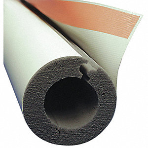 "1"" Thick, Hinged with Self Sealing Lap Melamine Foam Pipe Insulation, 4 ft. Insulation Length"