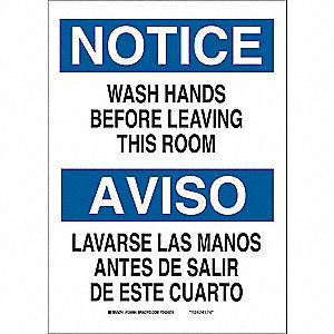 "Wash Hands, Notice/Aviso, Fiberglass, 14"" x 10"", With Mounting Holes, Not Retroreflective"