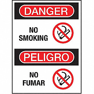 "No Smoking, Danger/Peligro, Plastic, 7"" x 10"", With Mounting Holes, Not Retroreflective"
