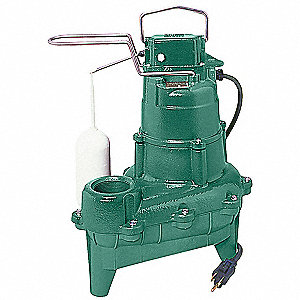 4/10 HP Automatic Submersible Sewage Pump, 115 Voltage, 22 GPM of Water @ 15 Ft. of Head