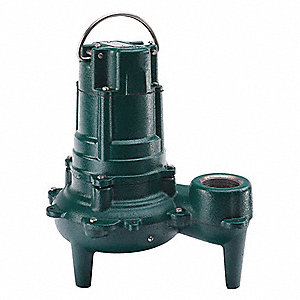 1/2 HP Manual Submersible Sewage Pump, 230 Voltage, 50 GPM of Water @ 15 Ft. of Head