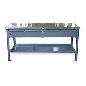 "Workbench, Stainless Steel, 36"" Depth, 34"" Height, 72"" Width, 10,000 lb. Load Capacity"
