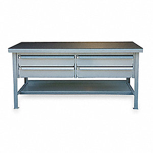"Workbench, Steel Frame Material, 72"" Width, 36"" Depth  Plastic Work Surface Material"