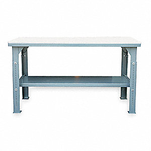 "Bolted Workbench, Polyethylene, 24"" Depth, 30"" to 40"" Height, 30"" Width, 2750 lb. Load Capacity"