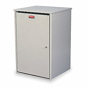 36 gal. Steel Confidential Waste Container, Platinum, 1 EA