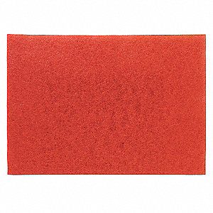 "12"" x 18"" Non-Woven Polyester Fiber Rectangular Buffing Pad, 175 to 600 rpm, Red, 5 PK"