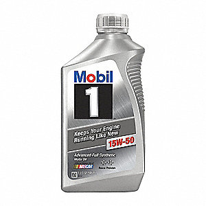 Mobil 1 15W-50, gals Engine Oil, 1 qt.