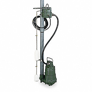 1/2 HP Submersible Sump Pump, High Temperature, Mechanical Switch Type, Cast Iron Base Material