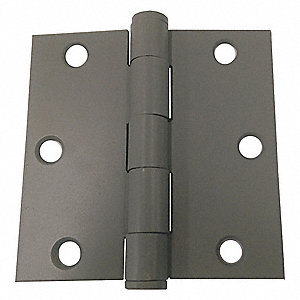 "5"" x 5"" Butt Hinge with Gray Enamel Finish, Full Mortise Mounting, Square Corners"