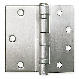 "4-1/2"" x 4-1/2"" Butt Hinge with Satin Chrome Finish, Half Surface Mounting, Square Corners"