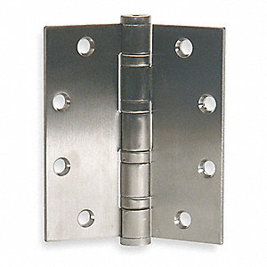 "4-1/2"" x 4-1/2"" Butt Hinge with Stainless Steel Finish, Full Mortise Mounting, Square Corners"