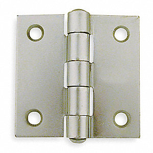 "2"" x 2"" Butt Hinge with Zinc Finish, Full Mortise Mounting, Square Corners"