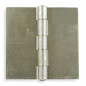 "2"" x 2"" Butt Hinge with Plain Steel Finish, Full Surface Mounting, Square Corners"