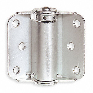 "Spring Hinge With Holes, Bright Zinc Finish, Rounded Corners, 1-1/4"" x 2-29/32"""
