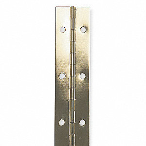 "180° Continuous Hinge With Holes, Bright Brass, Door Leaf: 48"" x 1-1/2"" W"