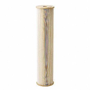 Pleated Filter Cartridge, 1 Microns, Cellulose Polyester Filter Media, 20 gpm Flow Rate