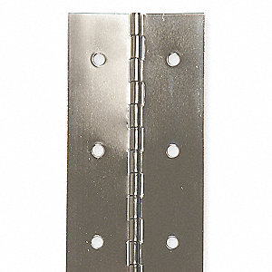"180° Continuous Hinge With Holes, Stainless Steel Finish, 72"" x 2"""
