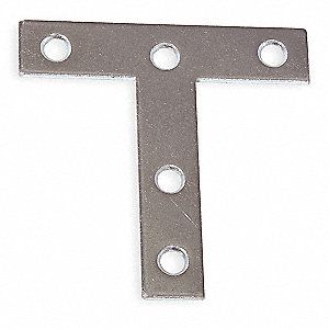 "2-1/2"" x 5/8 Tee Plate with Bright Zinc Finish"