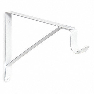 Shelf Bracket,  Heavy Duty w/Rod Hook,  White,  62 Load Capacity (Lb.),  12 in Length (In.)