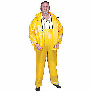 Rain Bib Overall, High Visibility: No, ANSI Class: Unrated, Polyurethane, L, Yellow