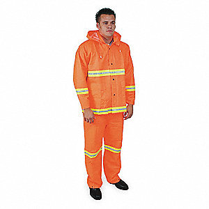 3 Piece Rainsuit w/Detach Hd,HiVis Org,M