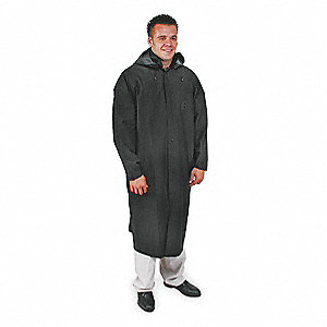 "Unisex Black PVC Rain Coat with Detachable Hood, Size S, Fits Chest Size 49"", 51-1/2"" Jacket Length"