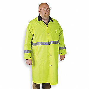"Unisex Hi-Visibility Lime/Black PVC Rain Coat, Size 4XL, Fits Chest Size 65"", 49"" Jacket Length"