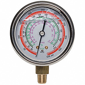 Gauge,2-3/4 In Dia,High Side,Red,500 psi