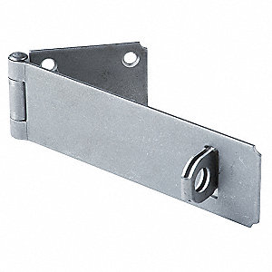 "Conventional Fixed Staple Hasp, 6"" Length, Steel, Natural Finish"