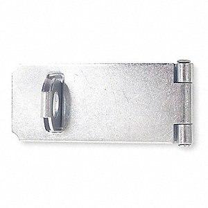 "Safety Fixed Eye Hasp, 3-1/2"" Length, Steel, Zinc Plated Finish"