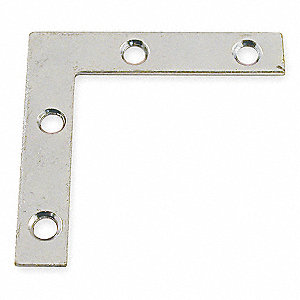 "2"" x 3/8 Flat Corner Brace with Zinc Finish"