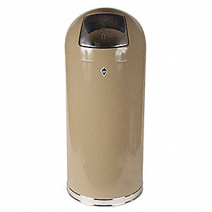 Trash Can,Round,15 gal.,Beige