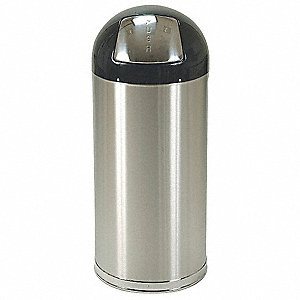"12 gal. Round Dome Top Decorative Trash Can, 30-1/2""H, Silver"