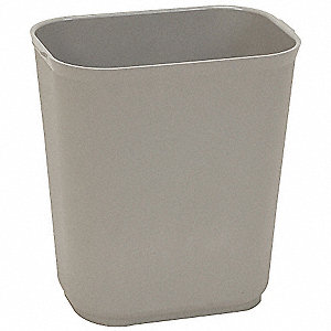 "3-1/2 gal. Rectangular Open Top Utility Wastebasket, 12-1/4""H, Gray"