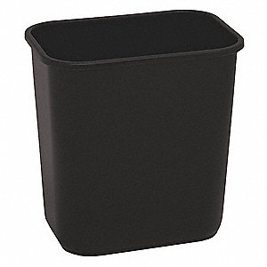 Wastebasket,Rectangular,3-1/2 gal.,Black