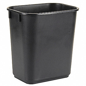 "3-1/2 gal. Rectangular Open Top Utility Wastebasket, 8-1/16""H, Black"